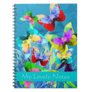 青い植物の蝶のカラフルな絵 ノートブック