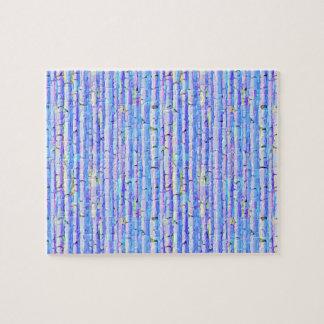 青い樺の木の抽象的な森林 ジグソーパズル