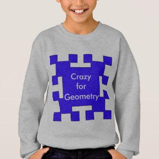 青い正方形および正方形 スウェットシャツ