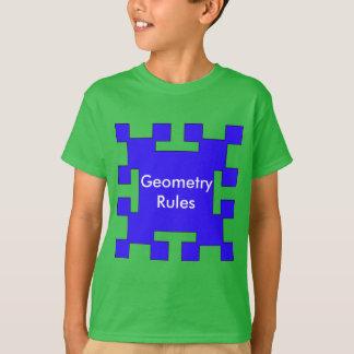青い正方形および正方形 Tシャツ