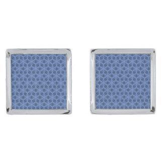 青い正方形のカフスボタンは、めっきされて銀を着せます 銀色 カフリンク