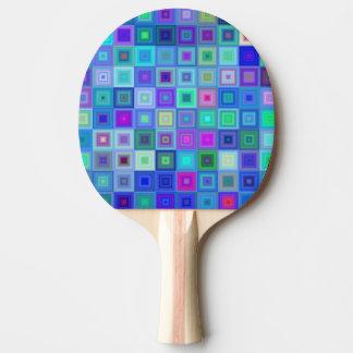青い正方形のモザイク 卓球ラケット