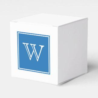 青い正方形のモノグラムの好意箱 フェイバーボックス
