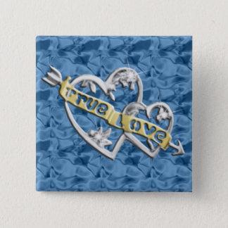 青い正方形の本当愛によって結合されるハートボタン 5.1CM 正方形バッジ