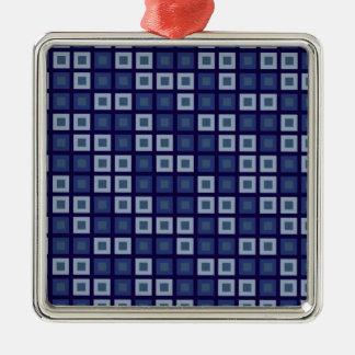 青い正方形 メタルオーナメント