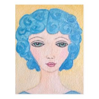青い毛の女性 ポストカード
