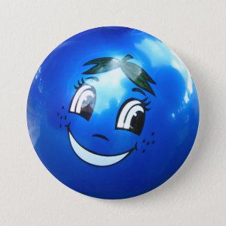 青い気球の顔 7.6CM 丸型バッジ