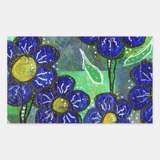 青い気球花 長方形シール