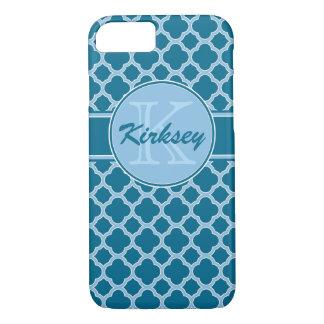 青い水のティール(緑がかった色)のクローバーのモノグラムのiPhone 7の箱 iPhone 8/7ケース