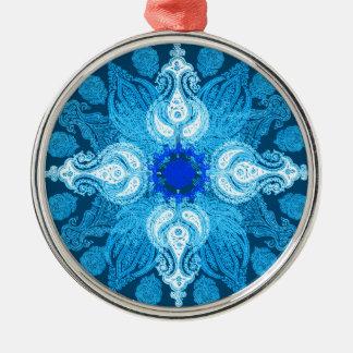 青い水のペイズリーのヒマワリ メタルオーナメント