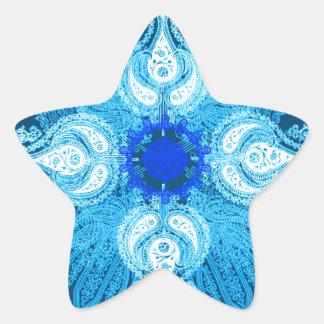 青い水のペイズリーのヒマワリ 星シール
