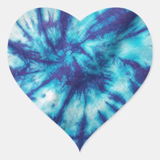 青い水の絞り染め ハートシール