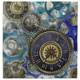 青い水のsteampunkのギア、コグ、文字盤は印刷します ナプキンクロス