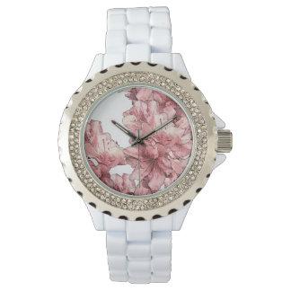 青い水彩画およびピンクの図解入りの、写真付きのな花 腕時計