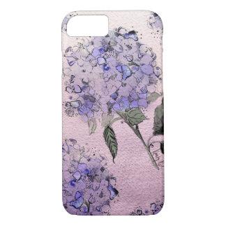 青い水彩画のアジサイのiPhone 7の箱 iPhone 8/7ケース