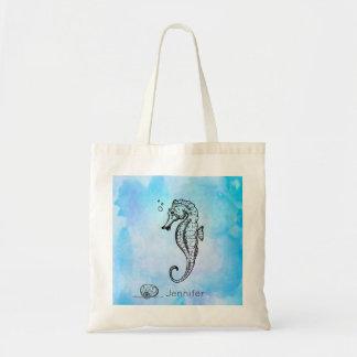青い水彩画のカスタムのタツノオトシゴそして貝殻 トートバッグ
