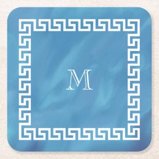 青い水彩画のギリシャ人の鍵 スクエアペーパーコースター