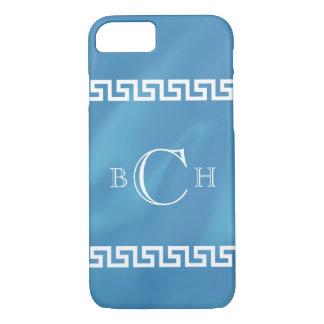 青い水彩画のギリシャ人の鍵 iPhone 7ケース