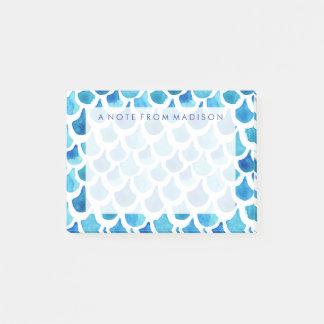 青い水彩画のスケールパターン ポストイット