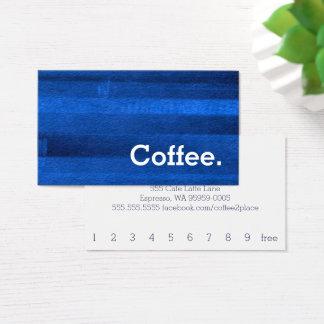 青い水彩画のストライプのロイヤリティのコーヒーパンチカード 名刺