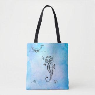 青い水彩画のタツノオトシゴ、クジラおよび貝殻 トートバッグ