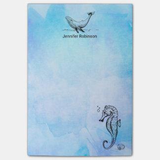 青い水彩画のタツノオトシゴ、クジラおよび貝殻 ポストイット