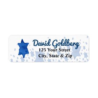 青い水彩画のダビデの星 ラベル