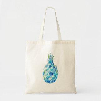 青い水彩画のパイナップルが付いている環境にやさしいトート トートバッグ