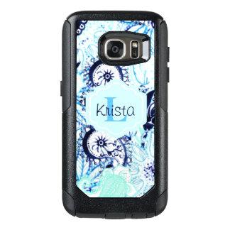 青い水彩画のペイズリーのプリントw/Fullの一流のモノグラム オッターボックスSamsung Galaxy S7ケース