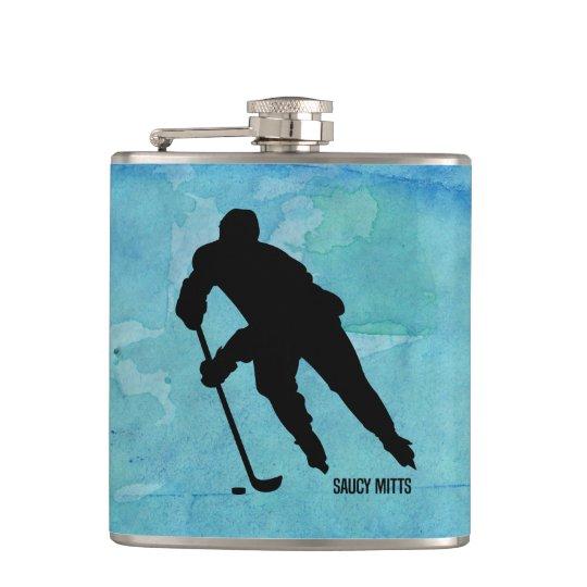 青い水彩画のホッケー選手 フラスク