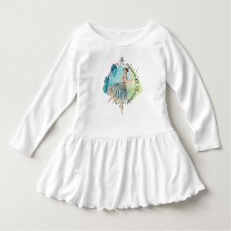 青い水彩画の妖精の細い棒の葉はフレームを研ぎました ドレス