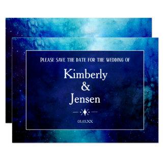 青い水彩画の星雲の保存日付カード カード