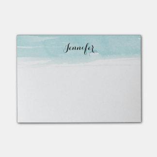 青い水彩画の洗浄ノート ポストイット