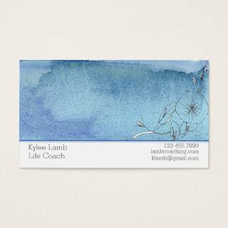 青い水彩画の洗浄花 名刺
