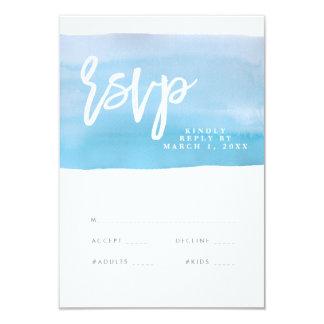 青い水彩画の結婚式のrsvpカード、応答カード 8.9 x 12.7 インビテーションカード