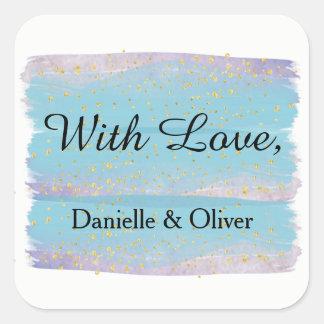青い水彩画の結婚式招待状のステッカー スクエアシール