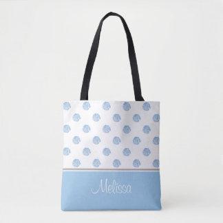 青い水彩画の花は|名前入りな活気付きます トートバッグ