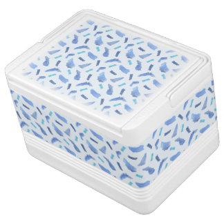青い水彩画はイグルー12のクーラーボックスに斑点を付けます IGLOOクーラーボックス