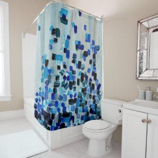 青い水彩画及びパステル調のアートワーク シャワーカーテン