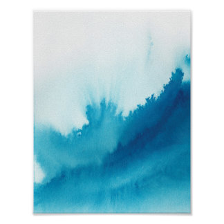 青い水彩画 プリント