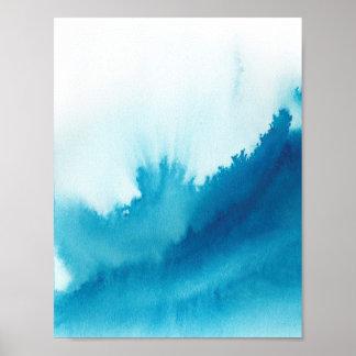 青い水彩画 ポスター
