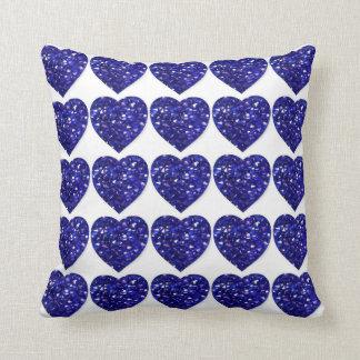 青い水晶ハートのサファイア記念日の枕 クッション