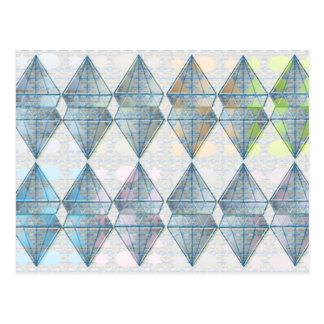 青い水晶パターン ポストカード