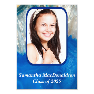 青い水晶写真の卒業 カード
