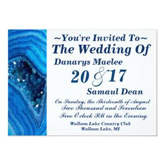 青い水晶宝石用原石の結婚式招待状 カード