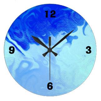 青い水泳 ラージ壁時計
