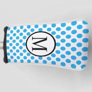 青い水玉模様が付いているシンプルなモノグラム ゴルフヘッドカバー