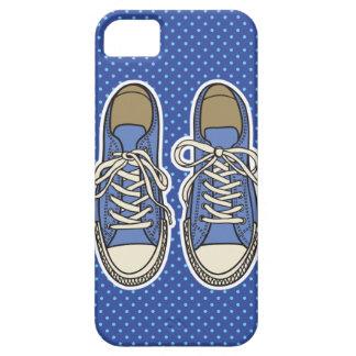 青い水玉模様が付いている青い靴 iPhone SE/5/5s ケース