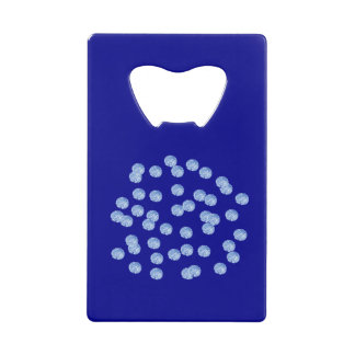 青い水玉模様のクレジットカードの栓抜き クレジットカード 栓抜き