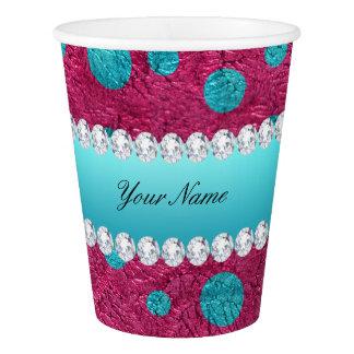 青い水玉模様のショッキングピンクののどのダイヤモンド 紙コップ
